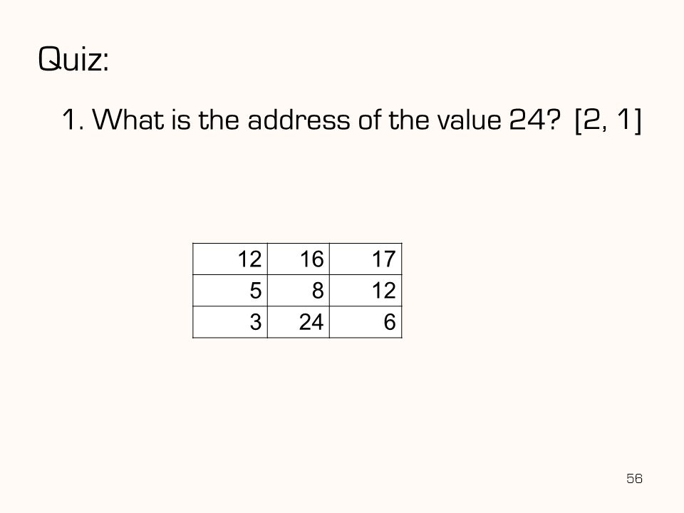 Quiz: 1. What is the address of the value 24 [2, 1] 12 16 17 5 8 3 24